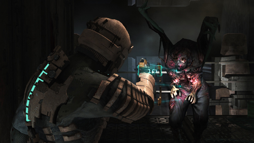 The vertical bar on his back is a health gauge, and note that there is also a holographic counter for ammo above the gun.  Immerson is something Dead Space has down pat.g