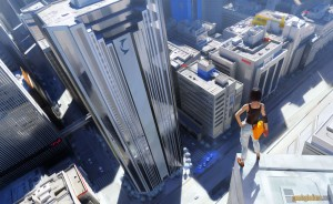 Again, as I've stated before about other pictures of Mirror's Edge promotional screens...you almost NEVER see Faith in the game, it is NOT a third-person title!